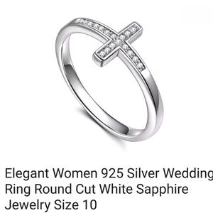 Jewelry - .925 Stamped sterling silver Cross ring w saphires